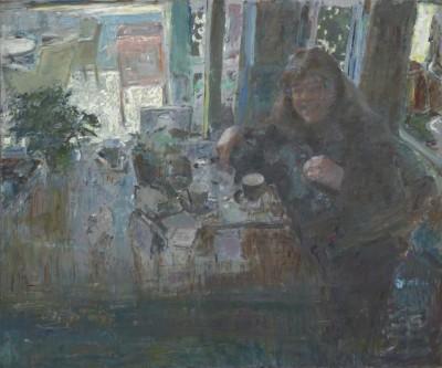 Peter B. van Houten, Haar lach, 100 x 120, olieverf, 2015