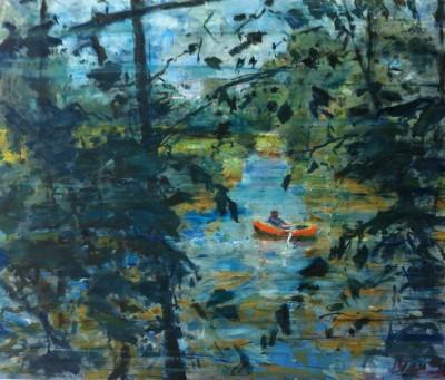 Peter B. van Houten, Zondag, olieverf op paneel, 100 x 120,