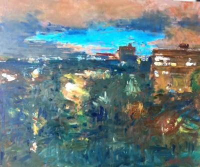 Stad, 2012, olieverf op paneel, 100 x 120